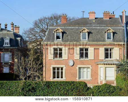 MULHOUSE FRANCE - DEC 19 2016: Notaire - office notarial which traslates as Notary office - beautiful real estate house with Notary sign on front facade