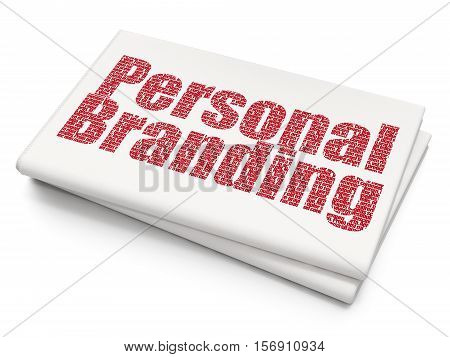 Marketing concept: Pixelated red text Personal Branding on Blank Newspaper background, 3D rendering