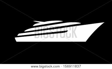 White silhouette of a sports and a lot of expensive motor deck yacht floating on the waves in the sea or ocean. Vector yacht icon