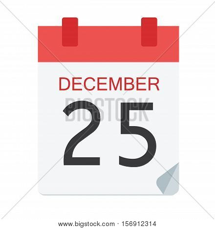 Colorful Calendar Icon Sign - Calendar 25 December For Logo, Banners, Templates, Internet Web Sites - Flat Vector Illustration Stock EPS