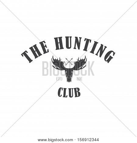 Retro Vintage Insignia or Logotype Vector design element business sign template. Deer hunting. Hunting for elk. Moose hunting