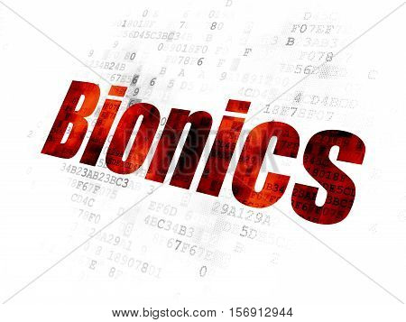 Science concept: Pixelated red text Bionics on Digital background