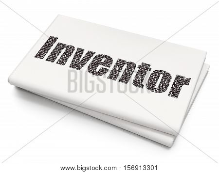 Science concept: Pixelated black text Inventor on Blank Newspaper background, 3D rendering