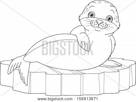 Cute seal lies on ice floe, coloring page