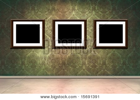 Grungy old room with victorian wallpaper and empty frames