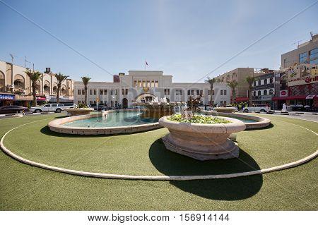MANAMA, BAHRAIN - NOV 16, 2016: Bab Al Bahrain, the main entrance to the Manama Souq - a wide view