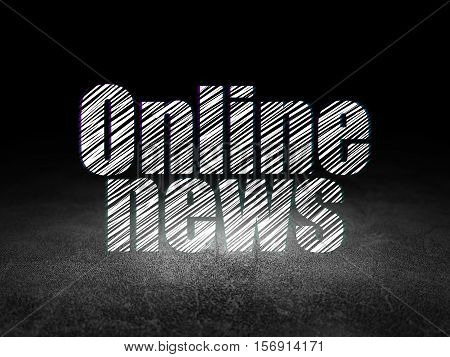 News concept: Glowing text Online News in grunge dark room with Dirty Floor, black background