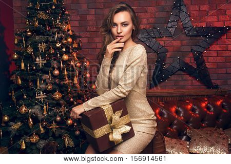 Wish You A Merry Christmas! Girl With A Christmas Presents. Happy Feeling To New Year. Christmas Par
