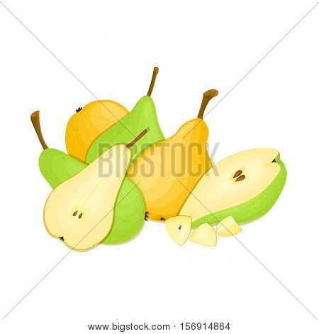 Composition of several pears. Yellow and green vector pear fruits whole and slice appetizing looking. Group of tasty fruits colorful design for the packaging of juice, breakfast, healthy eating, vegetarianism