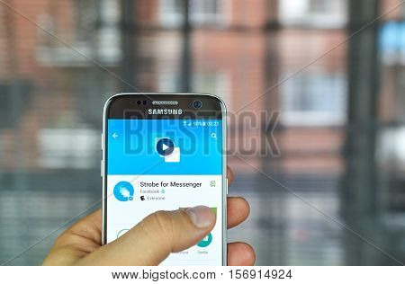 MONTREAL CANADA - JUNE 24 2016 : Facebook Strobe for Messenger is a GIF creator. It creates GIFs from user's photos then sends them friends.