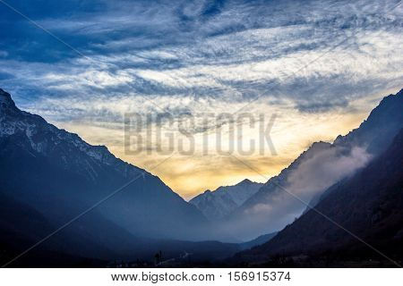 decline over the mountain gorge, the cloudy sky, a landscape, the nature of the North Caucasus