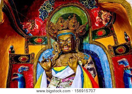 Golden Buddha statue inside Mati Si temple Zhangye Gansu province China