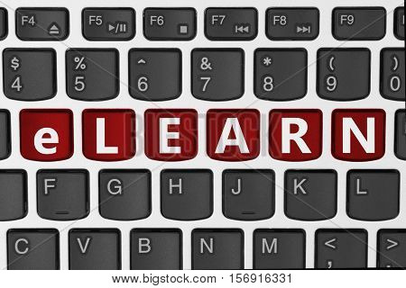 Taking courses and learning online A close-up of a keyboard with red highlighted text elearn