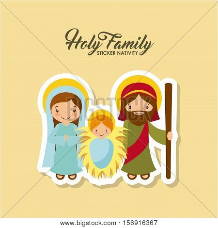 holy family characters. virgin mary with saint joseph and baby jesus. christmas design. vector illustration