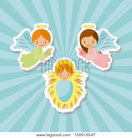 cartoon angels with baby jesus characters over blue background. vector illustration