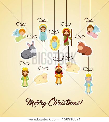 holy family and nativity characters hanging over yellow background. merry christmas colorful design. vector illustration