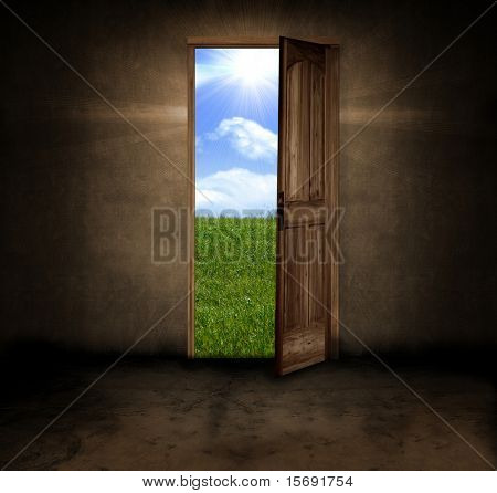 A dark grungy room with a door opening to a beautiful Summer day