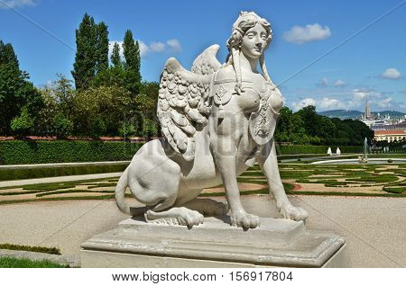 Statue of Sphinx in the Belvedere historic building complex in Vienna, Austria