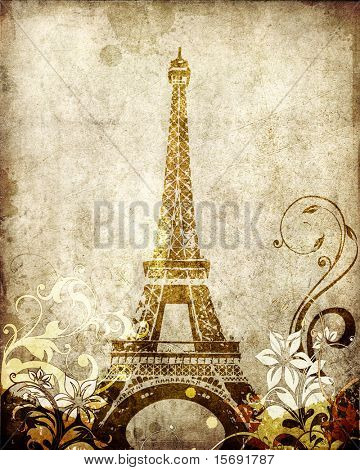 Grungy antique background of the Eiffel Tower poster