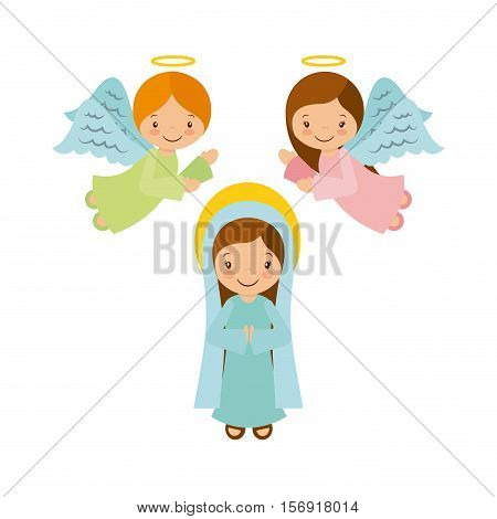 virgin mary with angels over white background. christmas colorful design. vector illustration