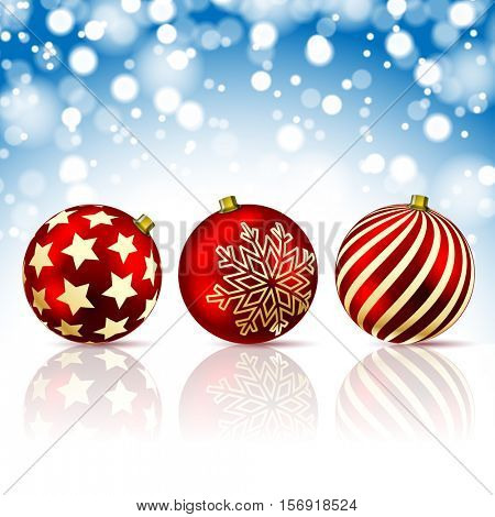Three Red Christmas Balls on snowfall background. Illustration
