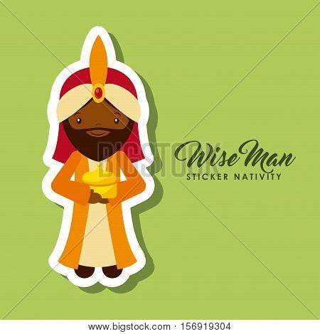 cartoon wise man sticker nativity over green background. colorful design. vector illustration