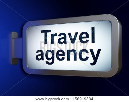 Tourism concept: Travel Agency on advertising billboard background, 3D rendering