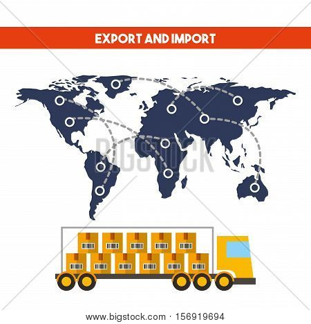 world map and cargo truck vehicle over white background. import and export design. vector illustration