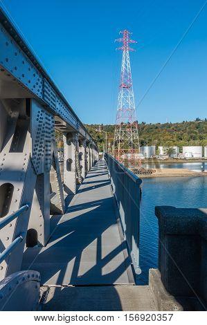 A closeup shot of a movable metal bride near the Port of Tacoma.