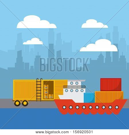 cargo ship and truck in city pier. import and export colorful design. vector illustration
