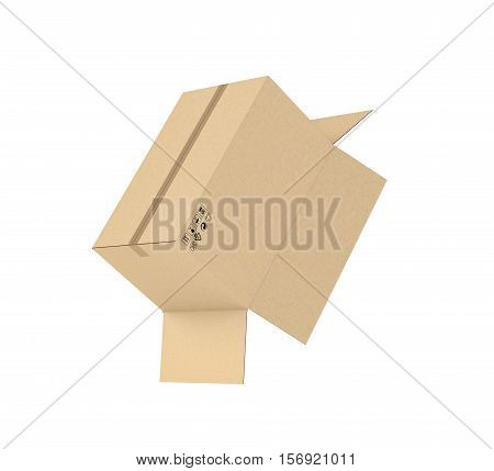 3d rendering of an open light beige cardboard mail box held together with duct tape isolated on a white background, three quarters view. Postal services. Packing and crating. Storage of different products.
