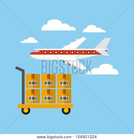 airplane and handcart with boxes over sky background. export and import design. vector illustration
