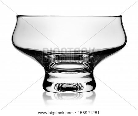 In front empty glass ice cream dish isolated on white background