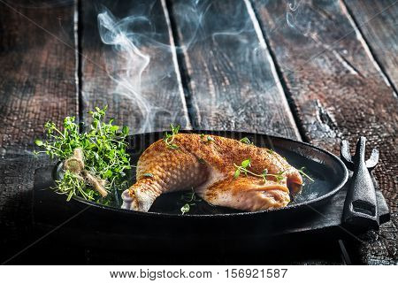 Piece Of Chicken With Fresh Marjoram Ready For Grilling