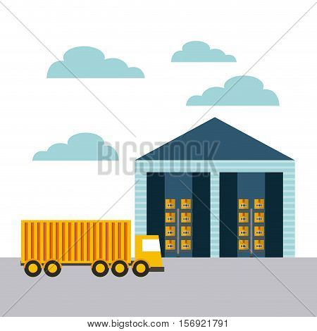 cargo truck and warehouse icon. import and export design. vector illustratio