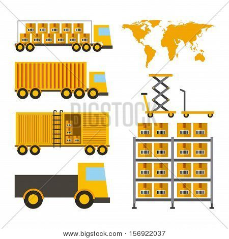 icons set of import and export design over white background. vector illustration