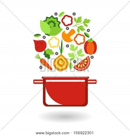 Set of fresh vegetables to cook for garnish or soup and red pot. Bright flat icons elements for your design.