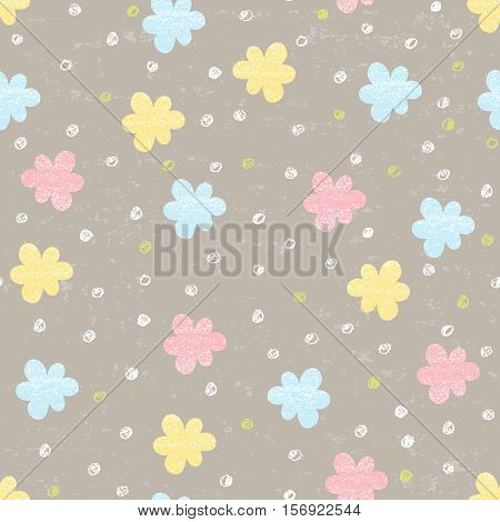 Vector doodle seamless patterns.Hand-drawn pencil pattern with flowers on a brown textured background. Endless background can be used for printing fabric and paper or invitation.