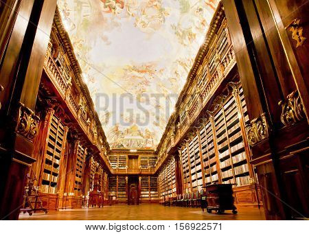 PRAGUE, CHECHIA - MAY 17, 2014: Huge Philosophical Hall of ancient library in the beautiful building of Strahov monastery on May 17, 2014 in Czech Republic. Philosophical Hall was built in 1784 by Jan Ignaz Palliardi