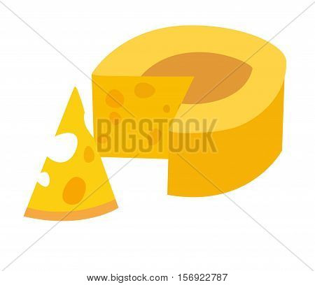 Cheese vector illustration. Yellow cheese icon. Piece of cheese. Isolated on white background cartoon style