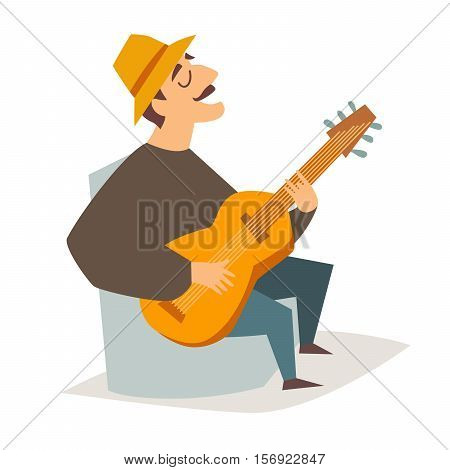 Guitar player vector illustration. Musician man with guitar. Singer guitarist funny man. Isolated on white background cartoon style