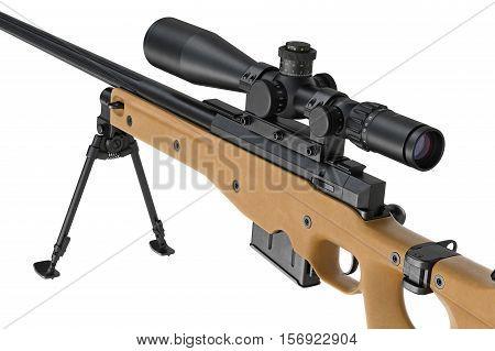 Rifle sniper beige modern gun, close view. 3D rendering