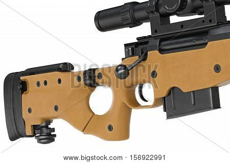 Rifle sniper butt with trigger military equipment, close view. 3D rendering