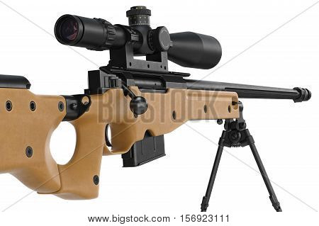 Rifle sniper modern weapon with bipod and scope, close view. 3D rendering
