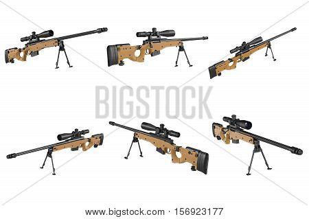 Rifle sniper beige color with optical scop set. 3D rendering