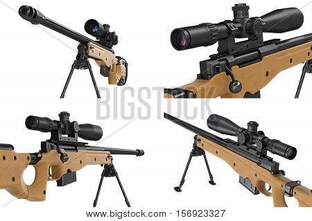 Rifle sniper beige modern gun set, close view. 3D rendering