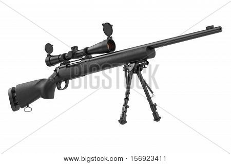 Rifle sniper with optical scope weapon gun black steel. 3D graphic