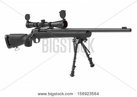 Rifle sniper military with optical scope. 3D rendering