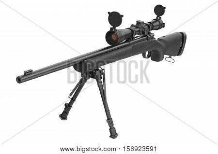 Rifle sniper optical modern black gun. 3D rendering