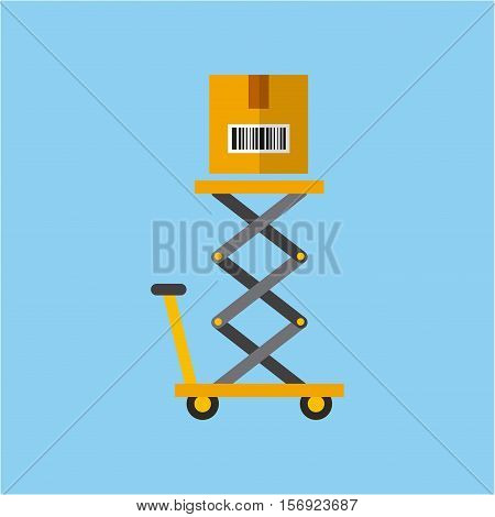 lift cart with carton box over blue background. colorful design. vector illustration